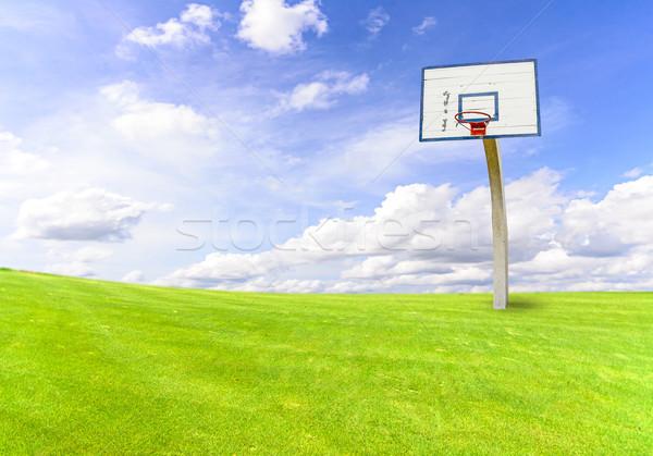 バスケットボール 目標 緑 フィールド 青空 空 ストックフォト © nuiiko