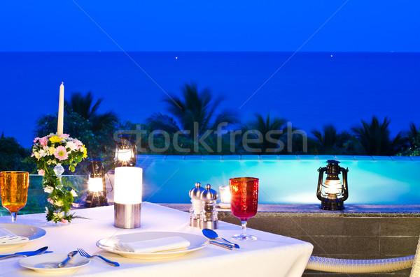 Romantische diner Valentijn dag dak water Stockfoto © nuiiko