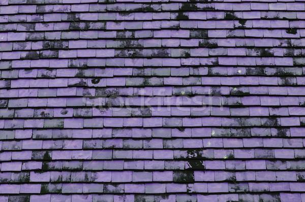 Paars dak betegelde textuur bouw abstract Stockfoto © nuiiko