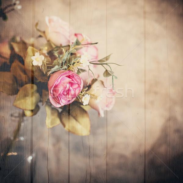 Boeket rozen bloem houten effect Stockfoto © nuiiko