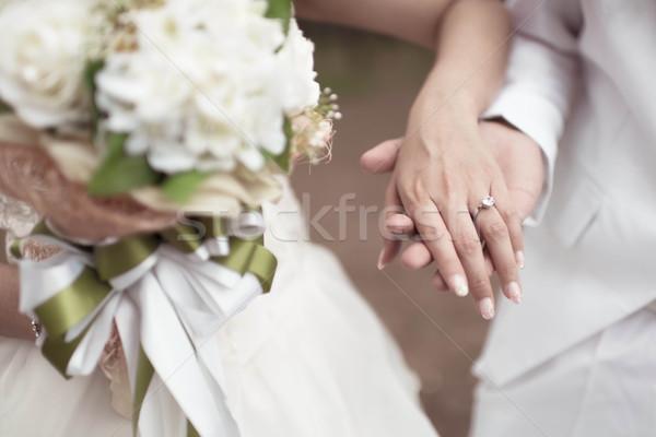結婚式 手をつない 愛 花 バラ 幸せ ストックフォト © nuiiko