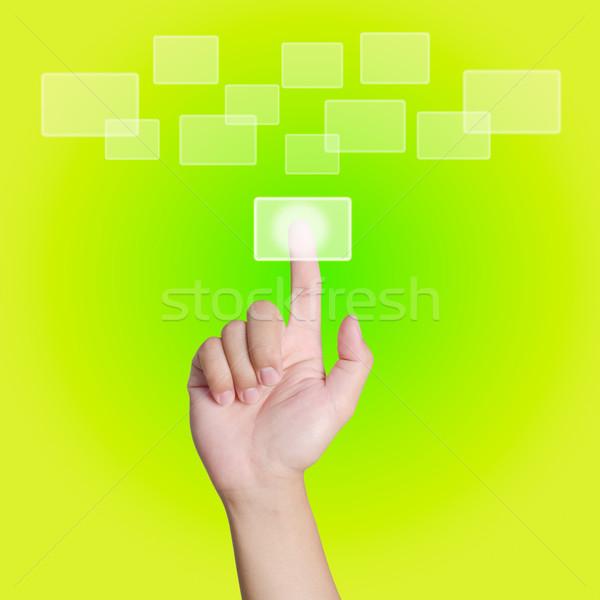 ストックフォト: 手 · ポインティング · 触れる · 緑 · コンピュータ