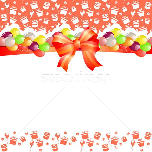 Stok fotoğraf: Tebrik · kartı · balonlar · kırmızı · yay · bebek · çocuk