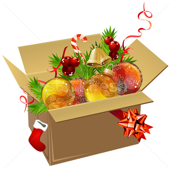 Paper box full of Christmas balls Stock photo © nurrka