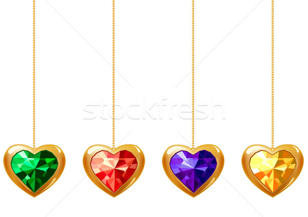 Four hearts with gems Stock photo © nurrka