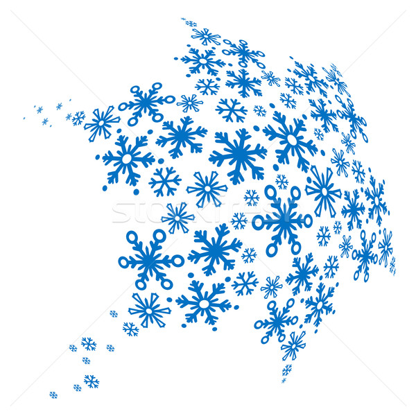 Big blue snowflake made of small ones Stock photo © nurrka