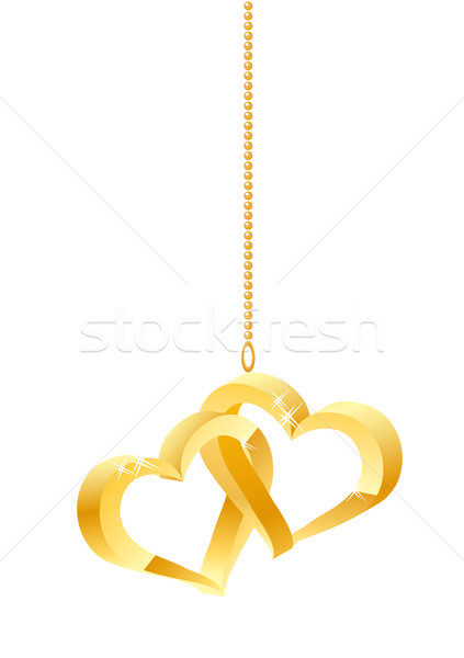 Two hanging gold hearts Stock photo © nurrka