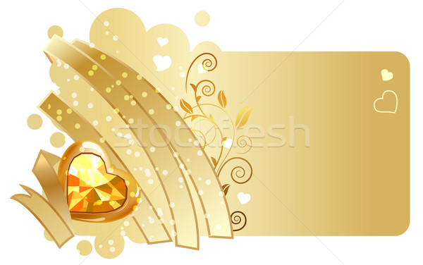 Oro nastro gioiello beige san valentino biglietto d'auguri Foto d'archivio © nurrka