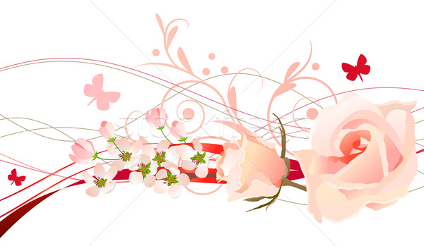 Photo stock / Fichier vectoriel Floral design element with rosees and butterfly