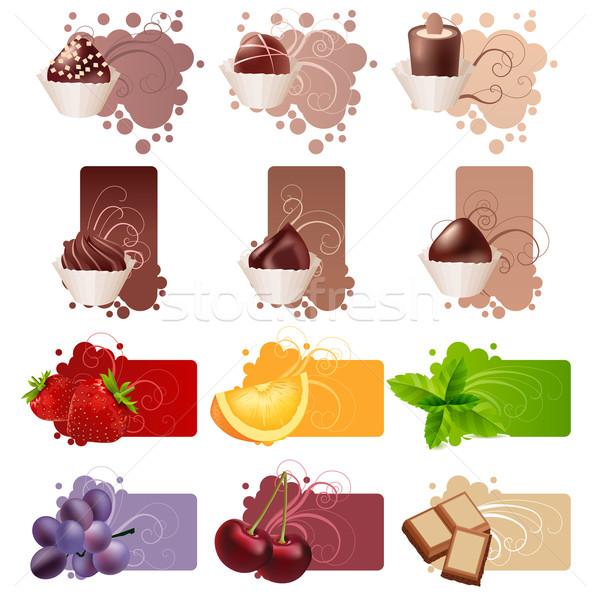 Szett különböző színes keret édesség gyümölcsök Stock fotó © nurrka