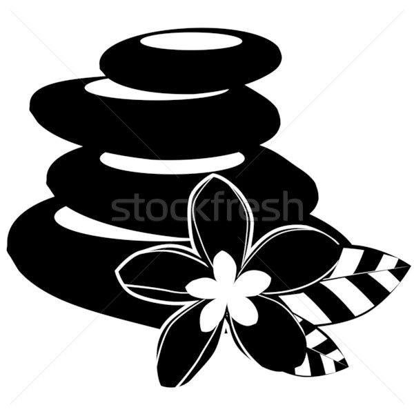 Black-and-white spa stones and flowers isolated Stock photo © nurrka