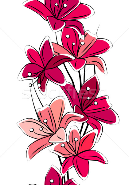 Seamless vertical border with tulips Stock photo © nurrka