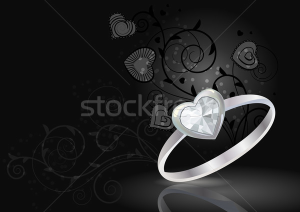 Silver ring on black background Stock photo © nurrka