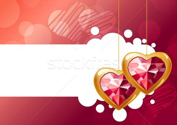 Сток-фото: два · подвесной · сердцах · Jewel · розовый · любви