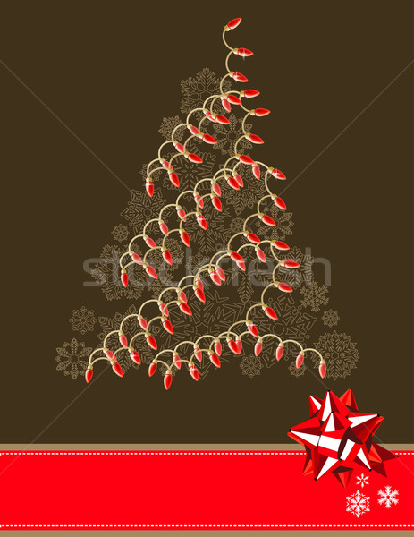 Christmas tree made of electric garland Stock photo © nurrka