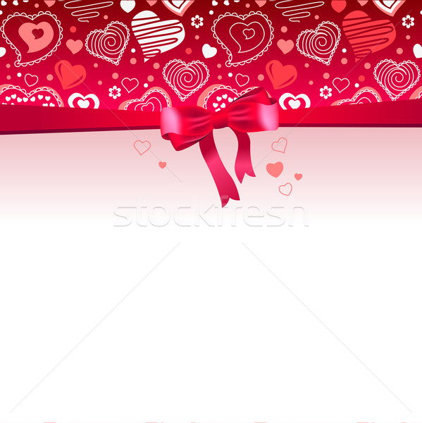 Pink frame with bow and hearts Stock photo © nurrka