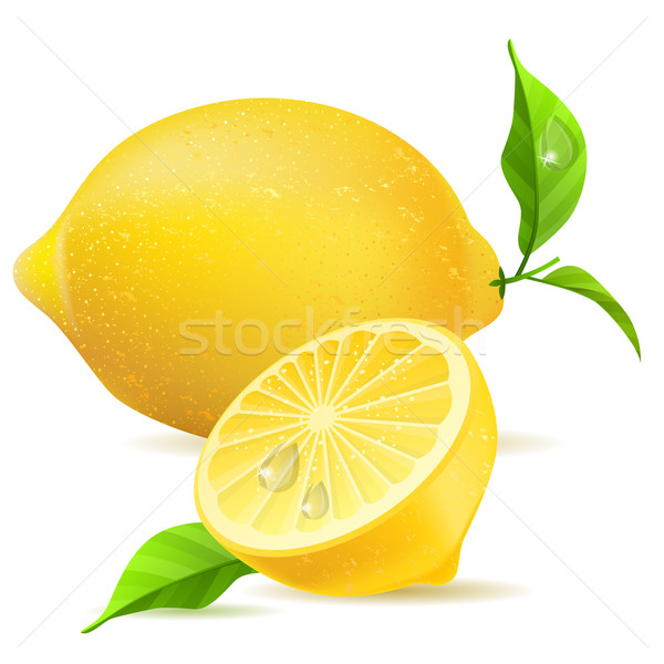 Realistic lemon and half Stock photo © nurrka