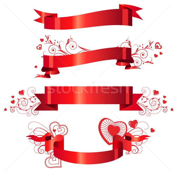 Stok fotoğraf: Dört · kırmızı · afişler · küçük · kalpler