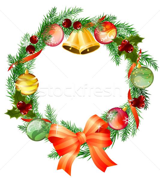 Stok fotoğraf: Noel · çelenk · yay · arka · plan · kırmızı