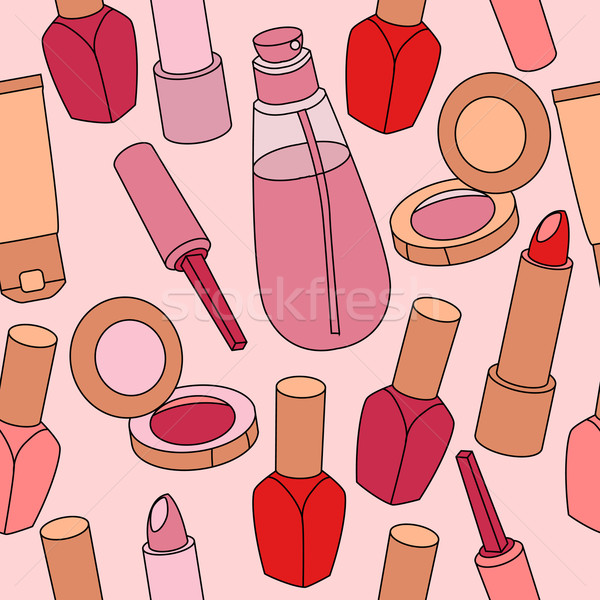 Cosméticos sem costura luz rosa Foto stock © nurrka