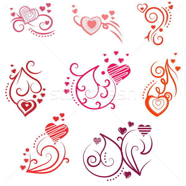 Ornate design elements with hearts Stock photo © nurrka