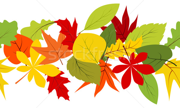 Seamless border with autumn leaves Stock photo © nurrka