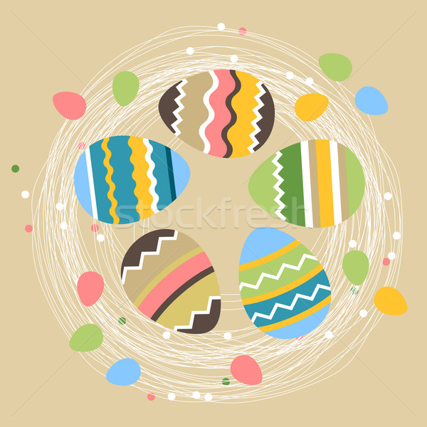 Foto stock: Huevos · de · Pascua · beige · bastante · colorido · feliz · diseno