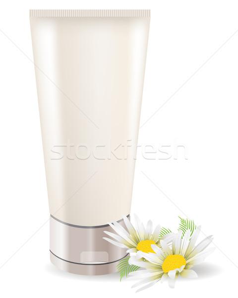 Creme tubo camomila isolado branco mulher Foto stock © nurrka