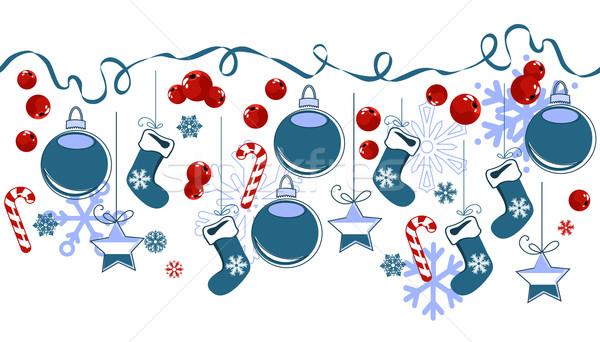 Frontera tradicional Navidad símbolos horizontal textura Foto stock © nurrka