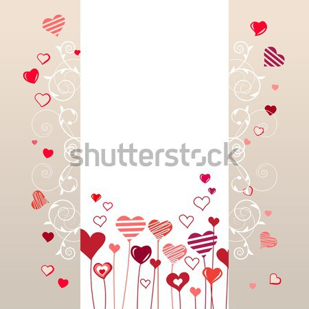 Contour red hearts on pastel background Stock photo © nurrka