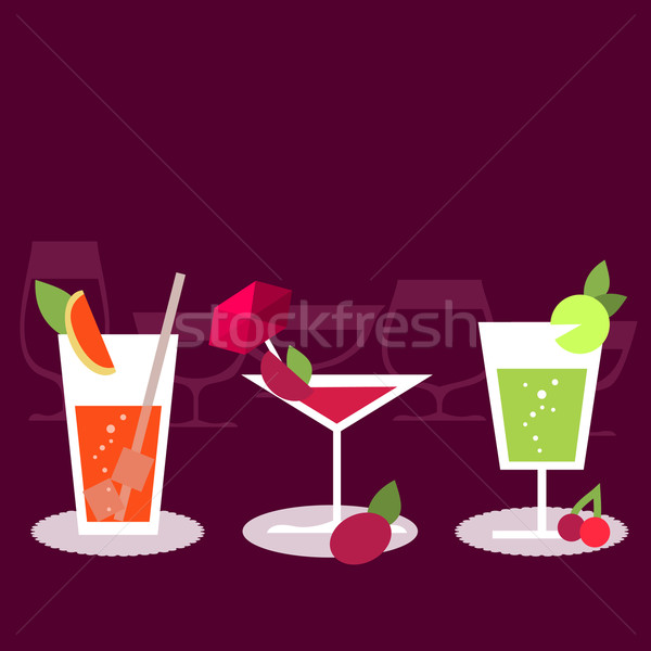 Set of different cocktails Stock photo © nurrka