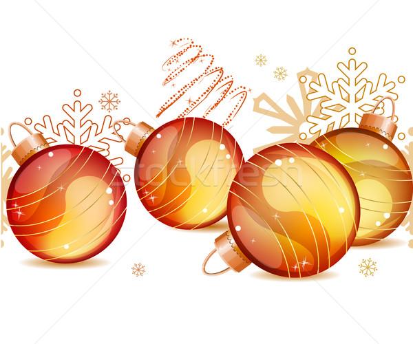 Bezszwowy christmas granicy złota Zdjęcia stock © nurrka