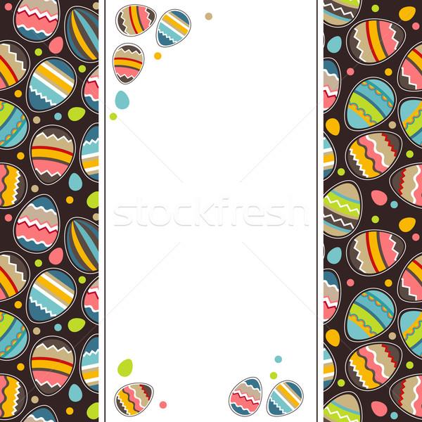Foto stock: Pascua · tarjeta · de · felicitación · huevos · vertical · pintado · primavera