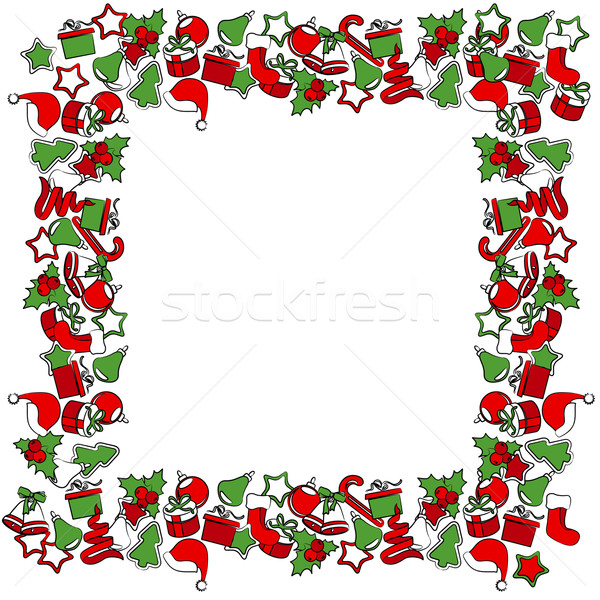 Blank Christmas frame with traditional symbols Stock photo © nurrka