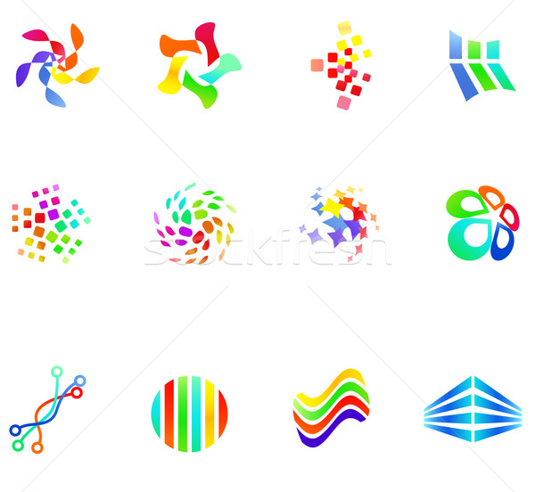 12 colorful vector symbols: (set 17) Stock photo © nurrka