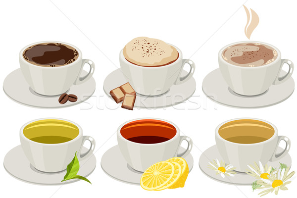 Set of cups with hot drinks Stock photo © nurrka