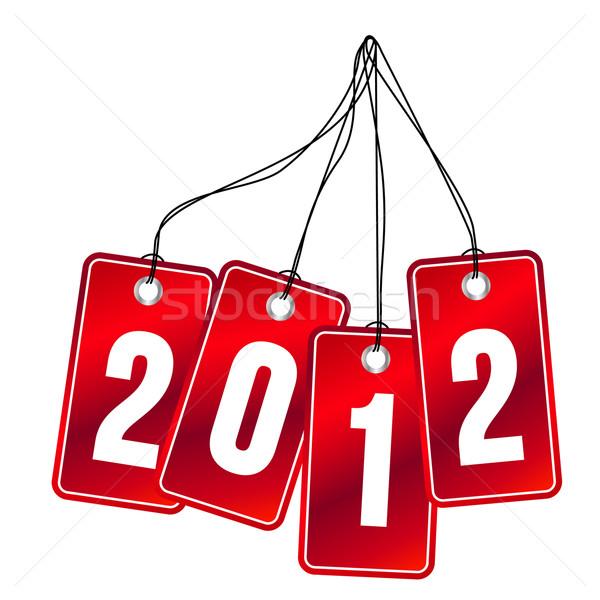 2012 suspendu étiquettes rouge isolé blanche Photo stock © nurrka