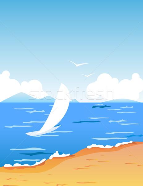 Сток-фото: пляж · лодка · небольшой · белый