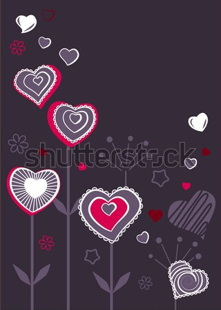 Stockfoto: Contour · harten · donkere · Rood · Valentijn · wenskaart
