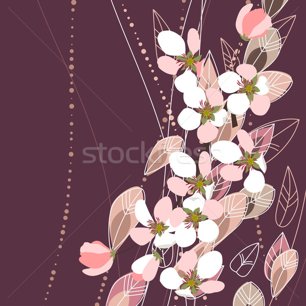 Blossomig branches on dark background Stock photo © nurrka