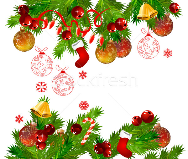 Christmas frame with  fir branches Stock photo © nurrka