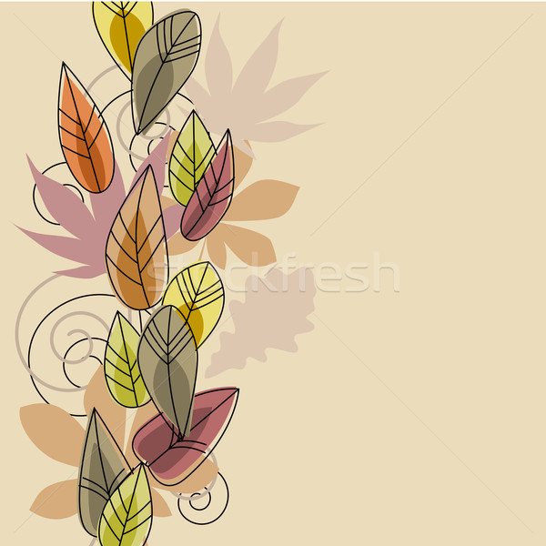 Beige background with stylized leaves Stock photo © nurrka
