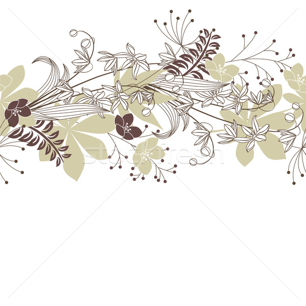 Stock photo: Seamless horisontal floral pastel pattern