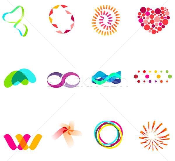 12 renkli vektör semboller ayarlamak 25 Stok fotoğraf © nurrka