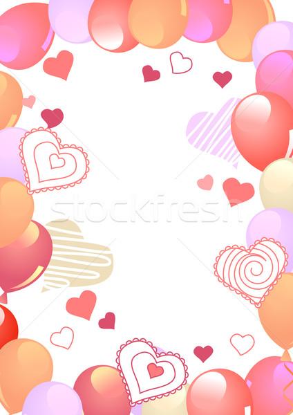 Keret léggömbök dekoráció kész üdvözlet kártyák Stock fotó © nurrka
