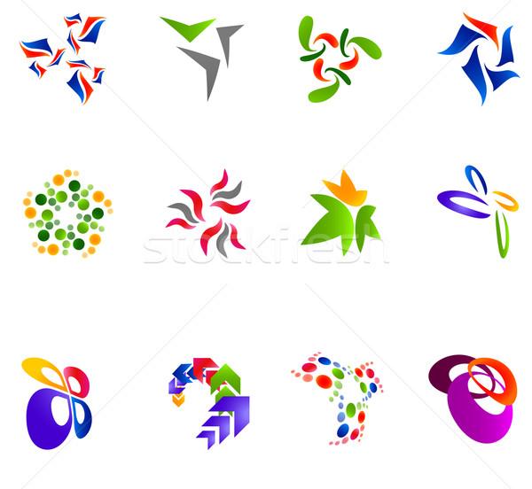 12 kleurrijk vector symbolen ingesteld 15 Stockfoto © nurrka