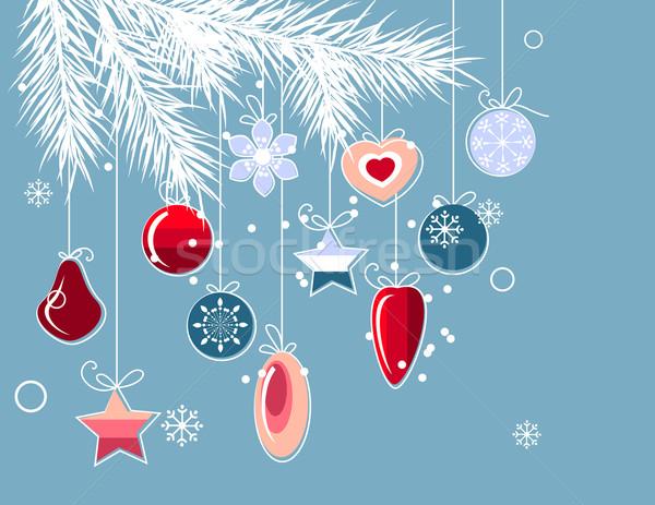 Weihnachten stilisierten Kontur Kugeln blau Baum Stock foto © nurrka