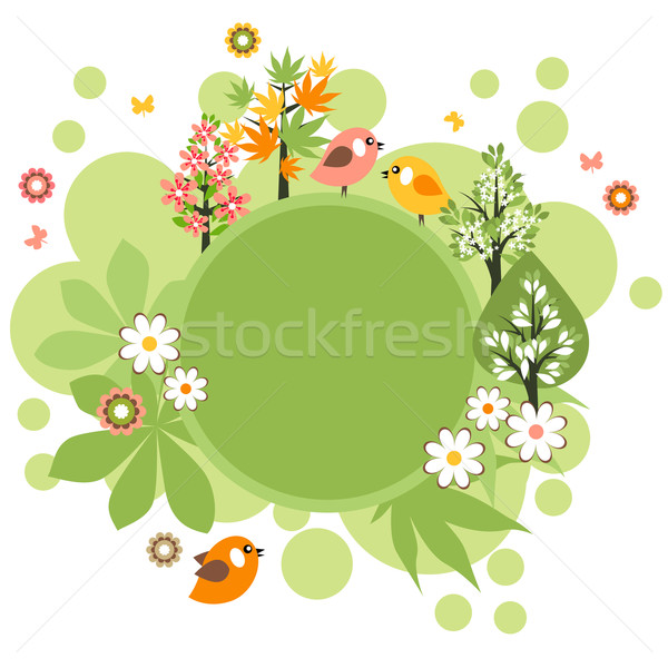 Stock photo: Round frame with birds and flowers