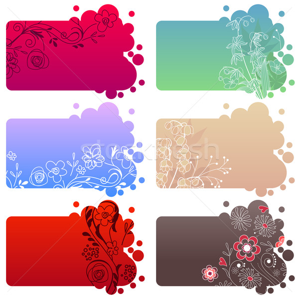 Set of different floral frames Stock photo © nurrka