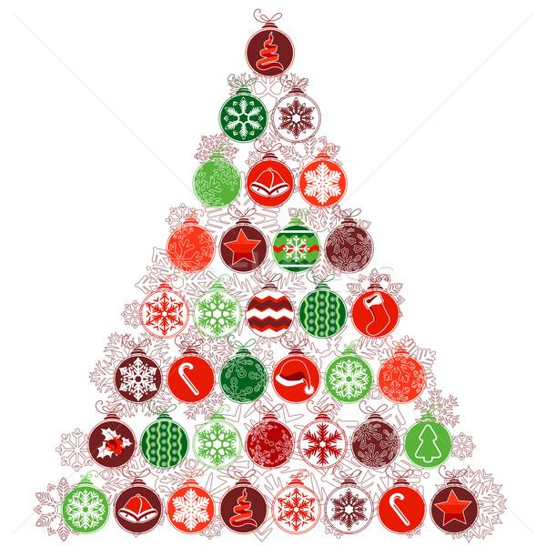 Foto stock: árvore · de · natal · estilizado · contorno · árvore
